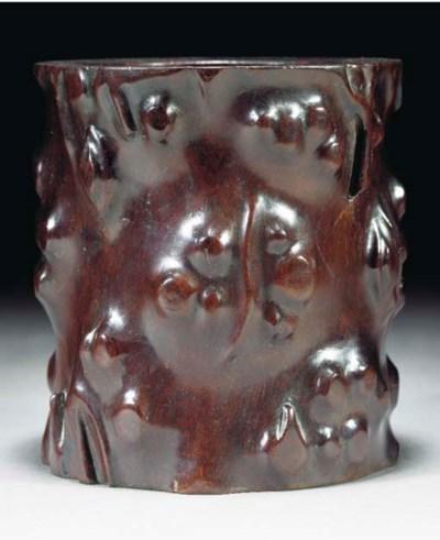 A zitan gnarled wood brushpot,