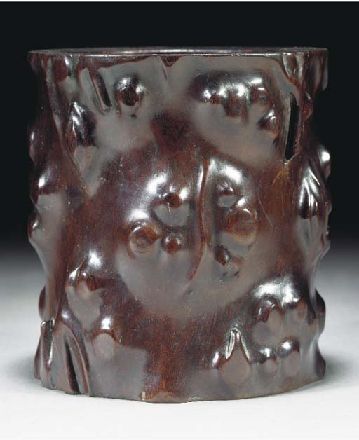 A zitan gnarled wood brushpot, 18/19th century