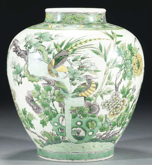 A famille verte tapering jar, underglaze blue six character Kangxi mark and of the period