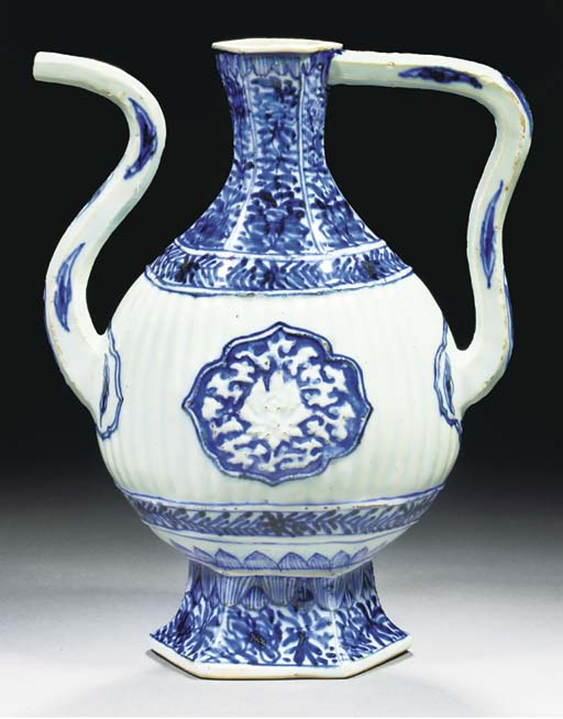 A blue and white moulded ewer