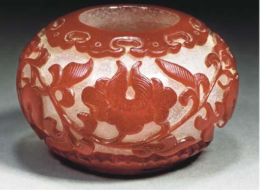 A red overlay Beijing glass wa