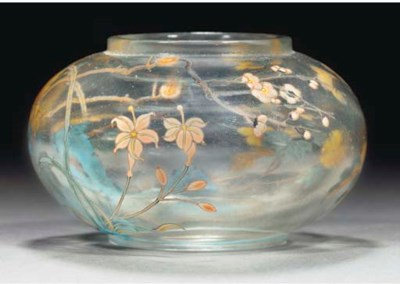 An enamelled clear glass water
