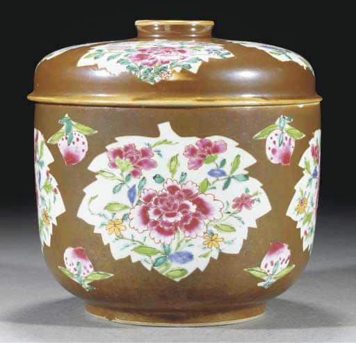A famille rose, cafe au lait ground deep bowl and cover, 18th Century