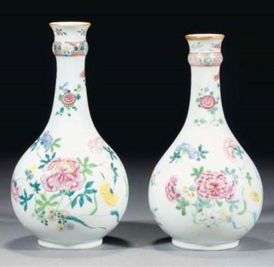Two famille rose garlic neck b