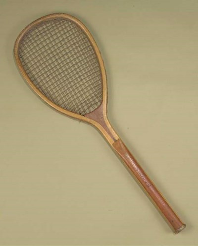LATE 1870's TILT-HEADED RACKET