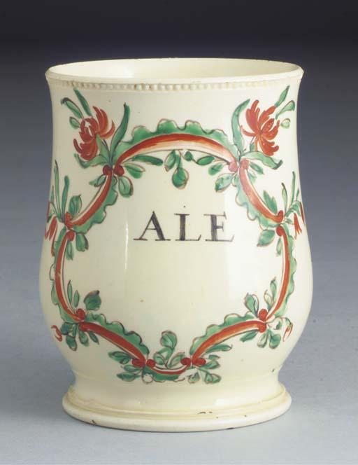 An English creamware baluster