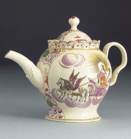 An English creamware teapot an