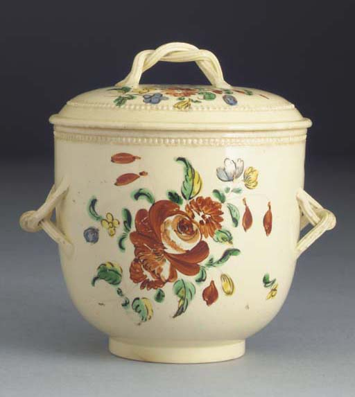 An English large creamware two