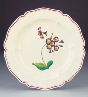 An English creamware plate