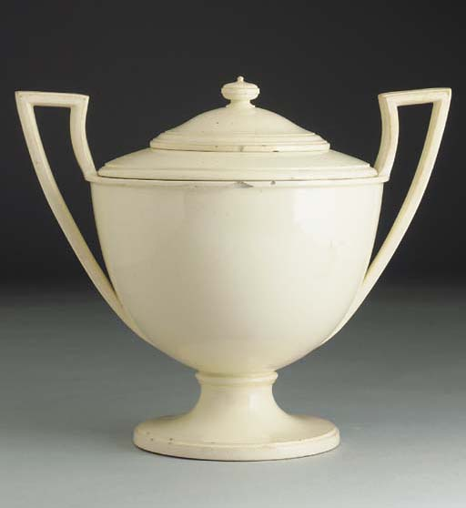A Greasley creamware two-handl