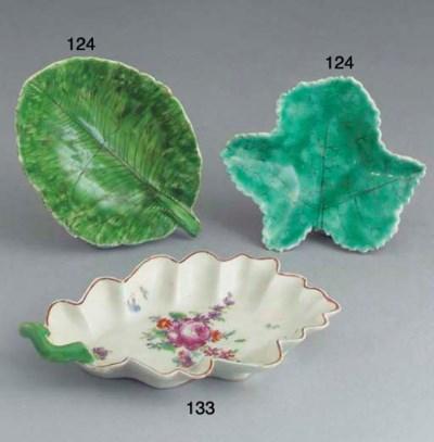 A Longton Hall leaf-shaped dis