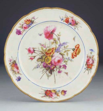 A Nantgarw plate painted with