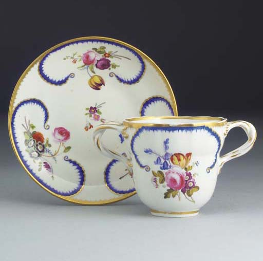 A Derby two-handled cup and sa