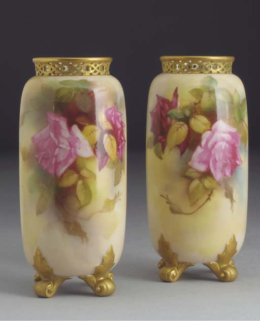 A pair of Royal Worcester cyli