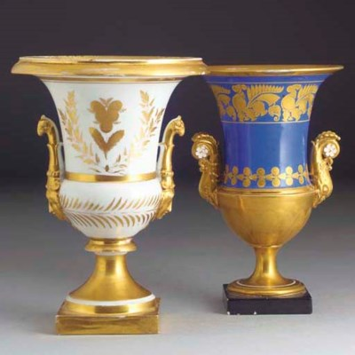Two Paris campana-shaped vases
