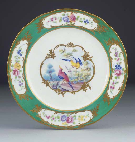 A Sevres (later-decorated) pla