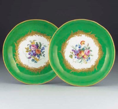 A pair of Sevres style green-g