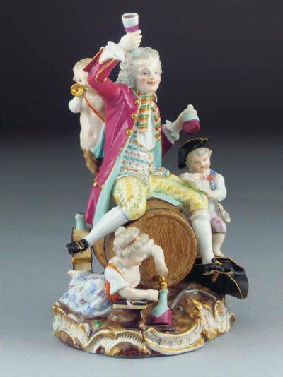 A Meissen group of revelers