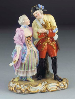 A Meissen group of a soldier a