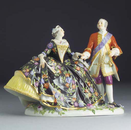 A Meissen crinoline group of A