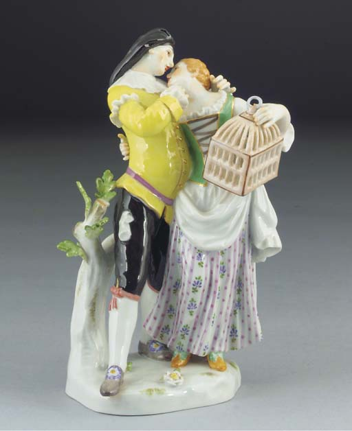 A Meissen group of Scaramouche