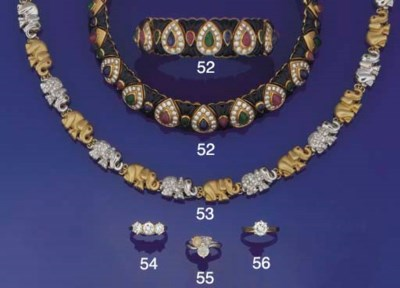 A diamond, gem and onyx collar