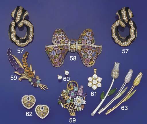 A multi-gem and diamond bow br