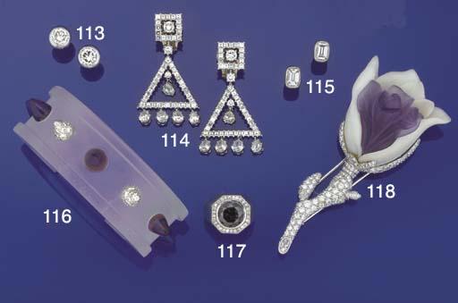 A rock crystal, diamond and am