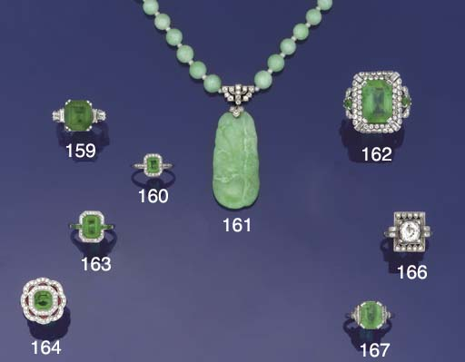 An Art Deco jade and diamond n