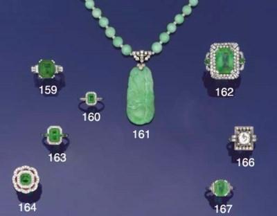 An Art Deco jade and diamond n