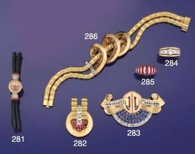 A diamond and ruby bracelet by