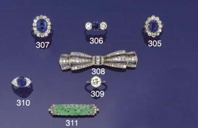An Art Deco jade and diamond b