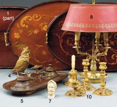 A brass three light bouillotte
