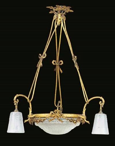 A gilt metal six light electro