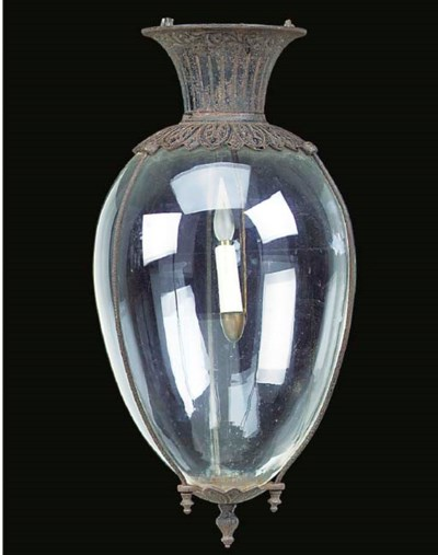 A painted cast iron and glass