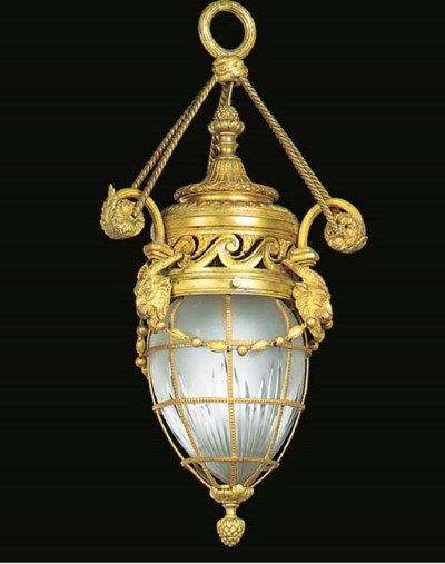 A French gilt metal hall lante