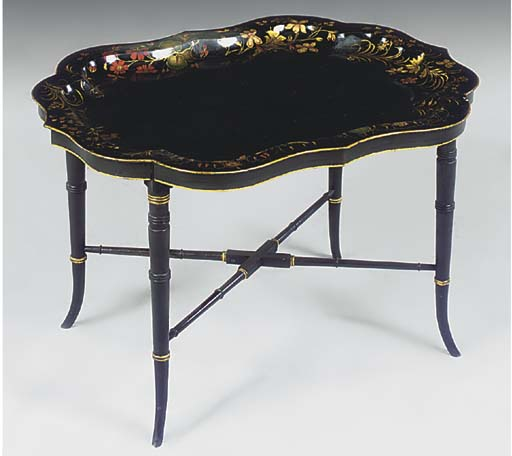 A VICTORIAN BLACK AND GILT TOL