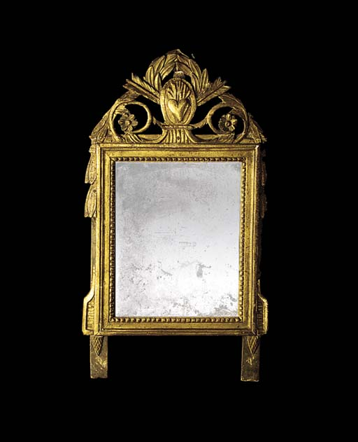 A SMALL FRENCH GILTWOOD OVERMA