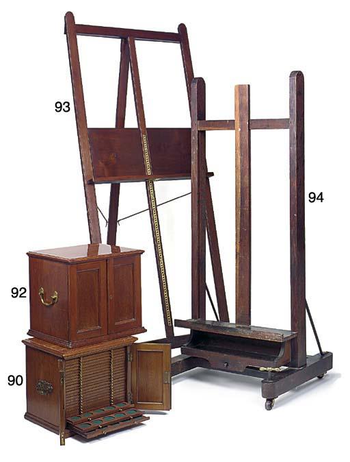 A mahogany folding easel