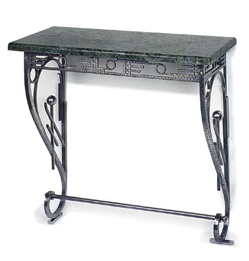 An art deco steel console tabl