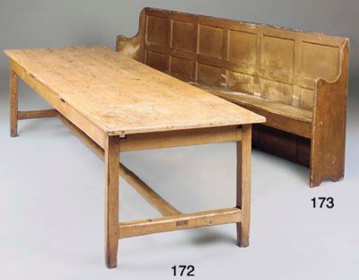 A LARGE ENGLISH PAINTED BENCH