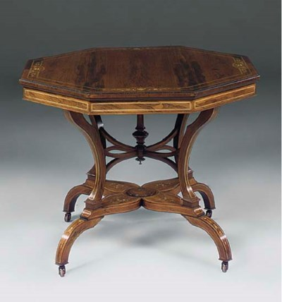 A Victorian rosewood and inlai