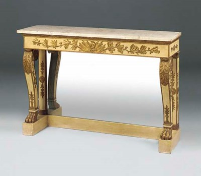 A GILT AND WHITE PAINTED CONSO