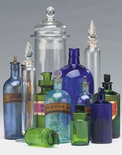 A collection of glass pharmacy