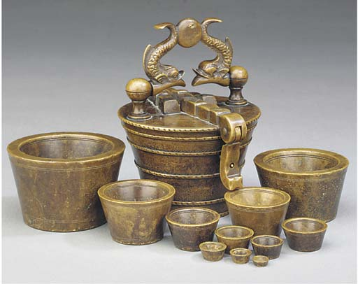 A bell-metal Nuremberg nested