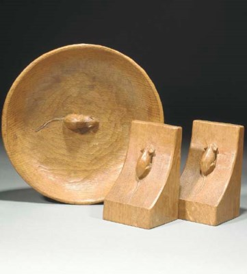A Pair of Carved Oak Bookends