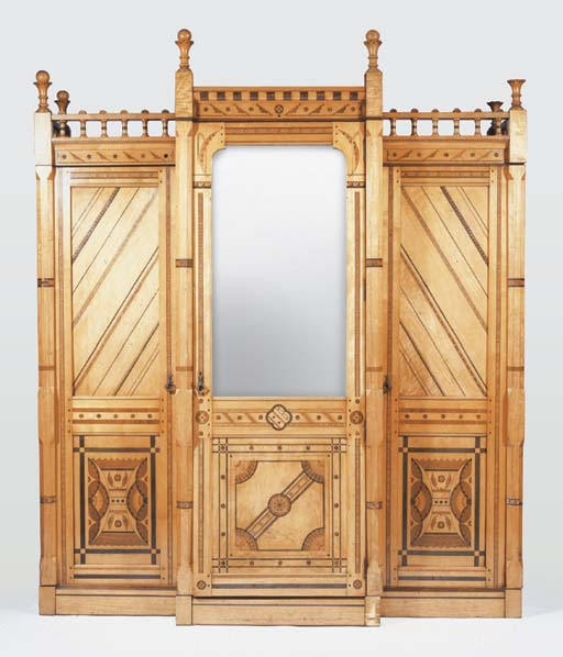 A LARGE MIRRORED INLAID WOOD B