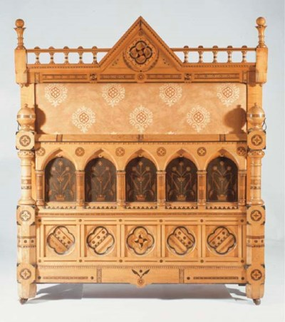 AN INLAID WOOD BED