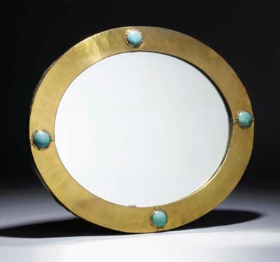 A Brass Mirror with Pottery Ca