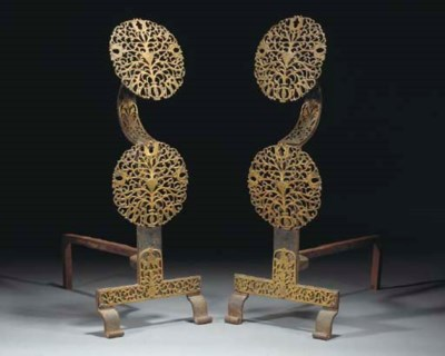 A Pair of Cast Iron and Brass